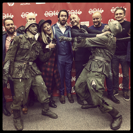 The Norwegian film crew  are having fun at the premier of Dead Snow - Red vs. Dead