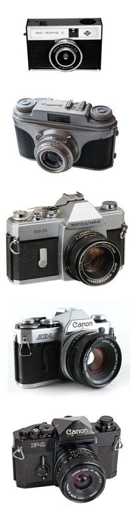 My first cameras from the simple Agfa Iso Rapid to Canon F-1.