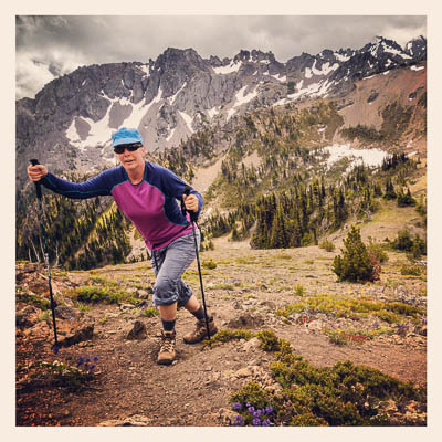 Pat på vei opp mot Buckhorn Mountain på 2130 meter