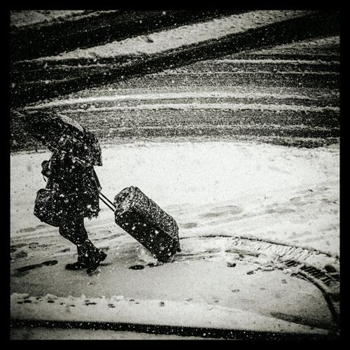 Kraftig snøfall over Bergen
