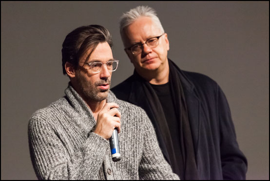 The actors Jon Hamm and Tim Robbins presenting the movie Marjorie Prime at Sundance Film Festival